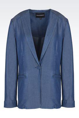 Armani One button jackets Women single-breasted denim blazer