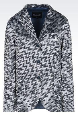 Armani Blazer Donna giacca monopetto in jacquard di lino e seta