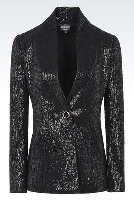 Armani Blazer Donna giacca monopetto con paillettes