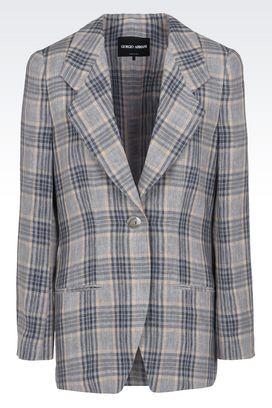 Armani Blazer Donna giacca monopetto in doppio tessuto di lino