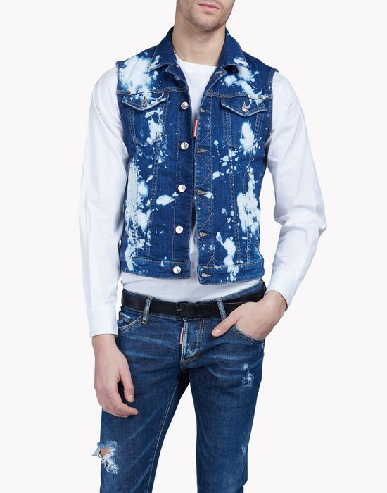 bleached denim vest coats & jackets Man Dsquared2