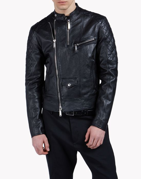 leather biker jacket coats & jackets Man Dsquared2