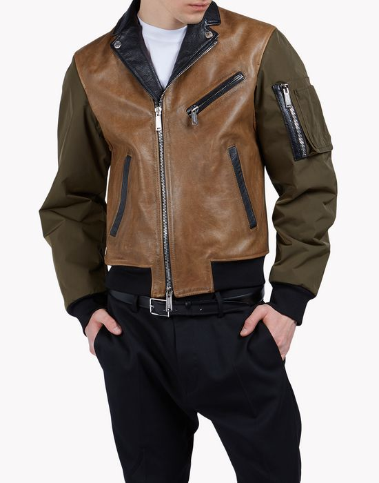 leather cargo jacket manteaux & vestes Homme Dsquared2