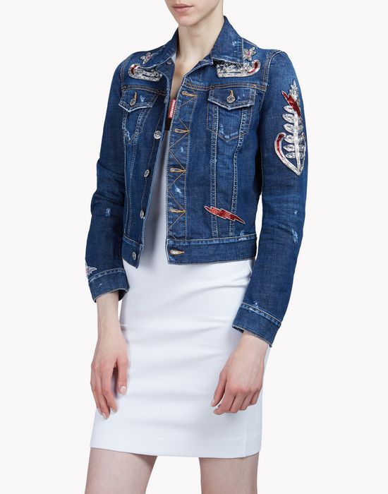 embellished denim jacket coats & jackets Woman Dsquared2