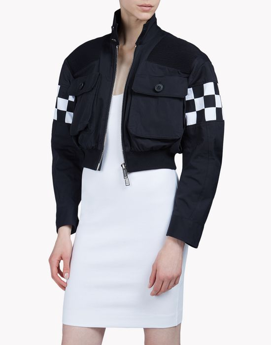 checkerboard bomber jacket coats & jackets Woman Dsquared2