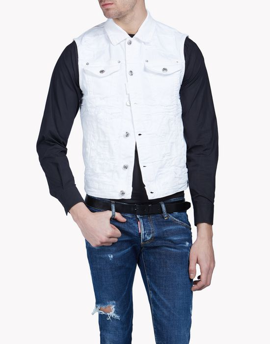 distressed denim vest coats & jackets Man Dsquared2