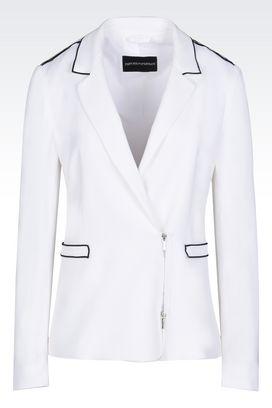 Armani Giacche Donna giacca in tessuto stretch con piping a contrasto