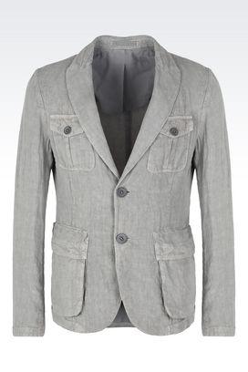 Armani Jackets Men single-breasted pure linen jacket