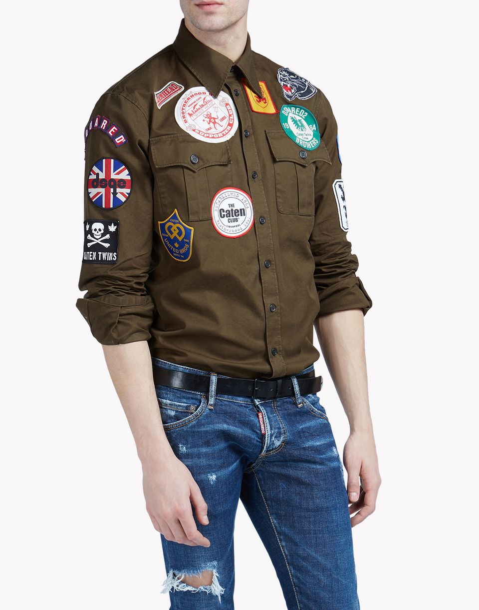 dsquared2 military patch shirt long sleeve shirts men dsquared2 online store. Black Bedroom Furniture Sets. Home Design Ideas