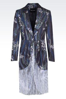 Armani Giacche Donna giacca monopetto in seta con frange