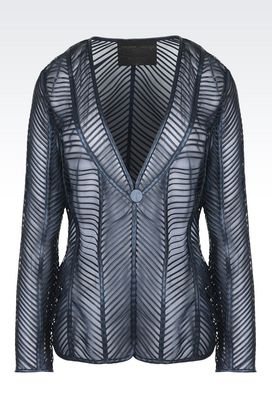 Armani Jackets Women single-breasted textured nappa leather jacket