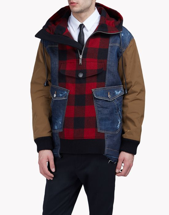 denim buffalo check anorak coats & jackets Man Dsquared2