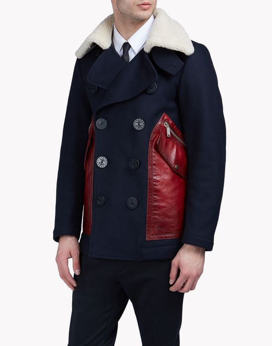 patch pocket wool felt peacoat manteaux & vestes Homme Dsquared2
