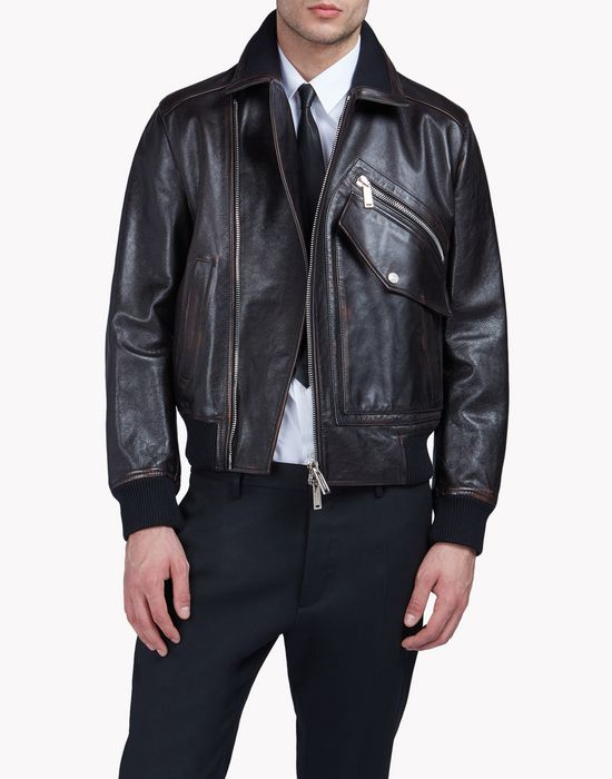 pocket biker leather jacket coats & jackets Man Dsquared2