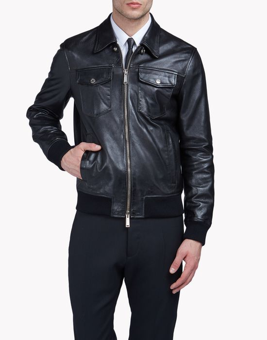 aviator leather jacket manteaux & vestes Homme Dsquared2