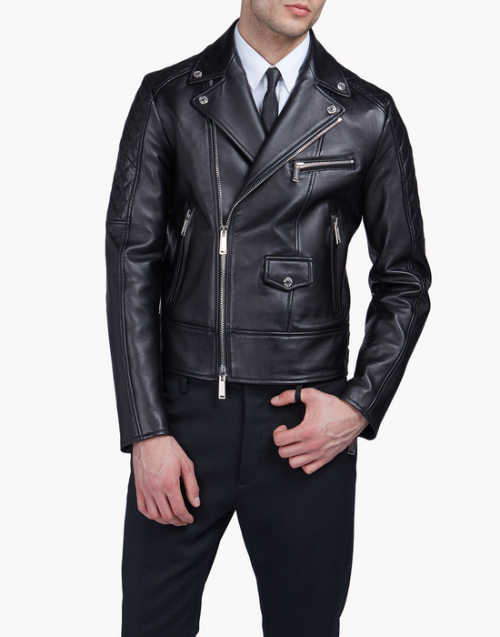 quilted aviator leather jacket manteaux & vestes Homme Dsquared2
