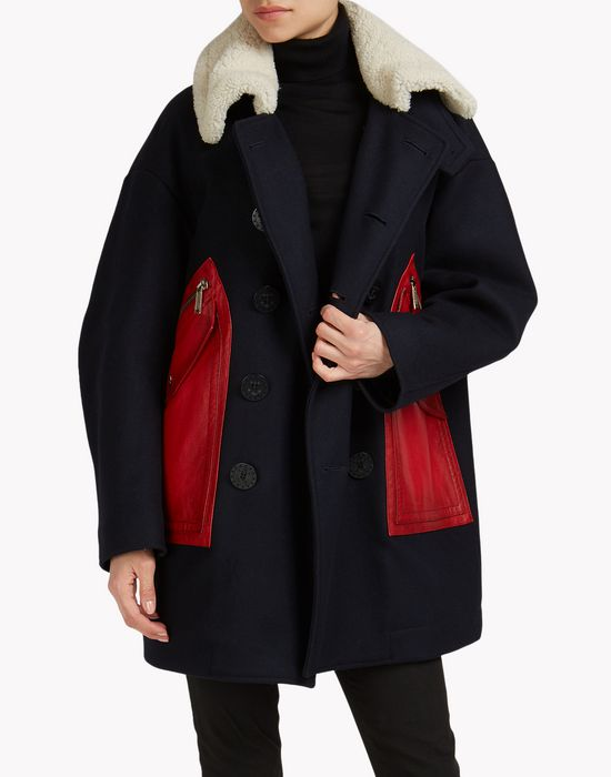 wool leather patch coat manteaux & vestes Femme Dsquared2