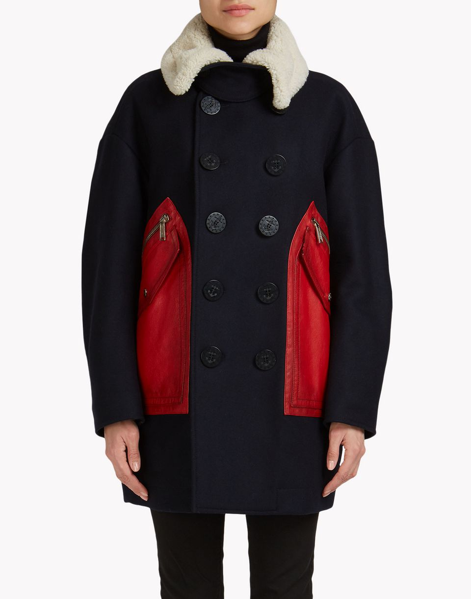 wool leather patch pocket coat coats & jackets Woman Dsquared2