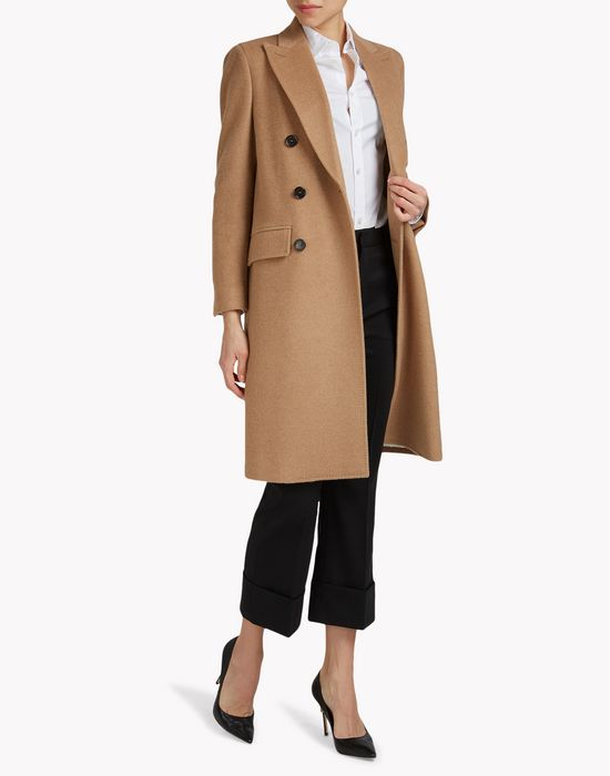 double-breasted camel coat coats & jackets Woman Dsquared2