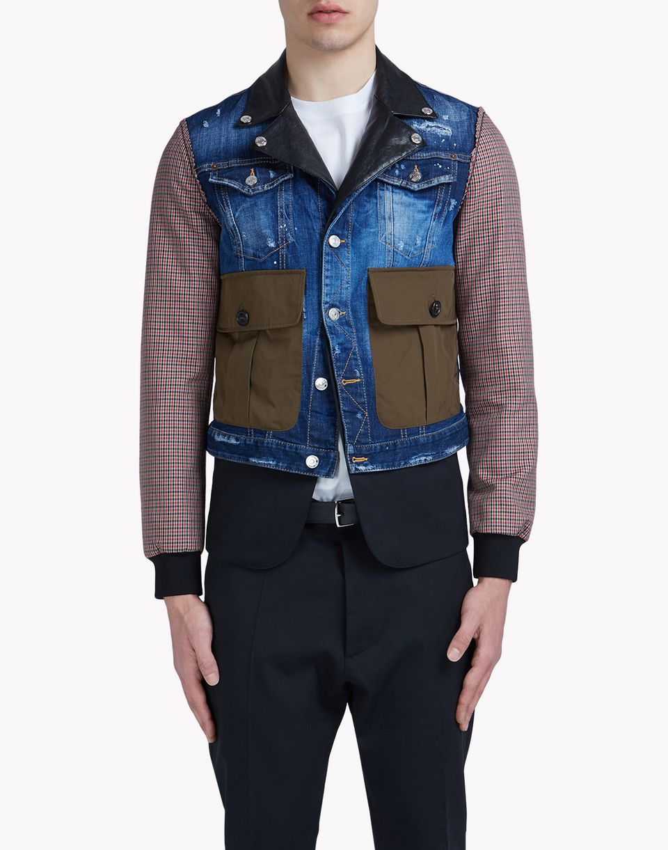 military check denim jacket coats & jackets Man Dsquared2