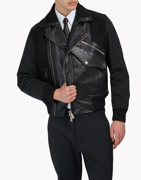 pocket biker leather jacket manteaux & vestes Homme Dsquared2