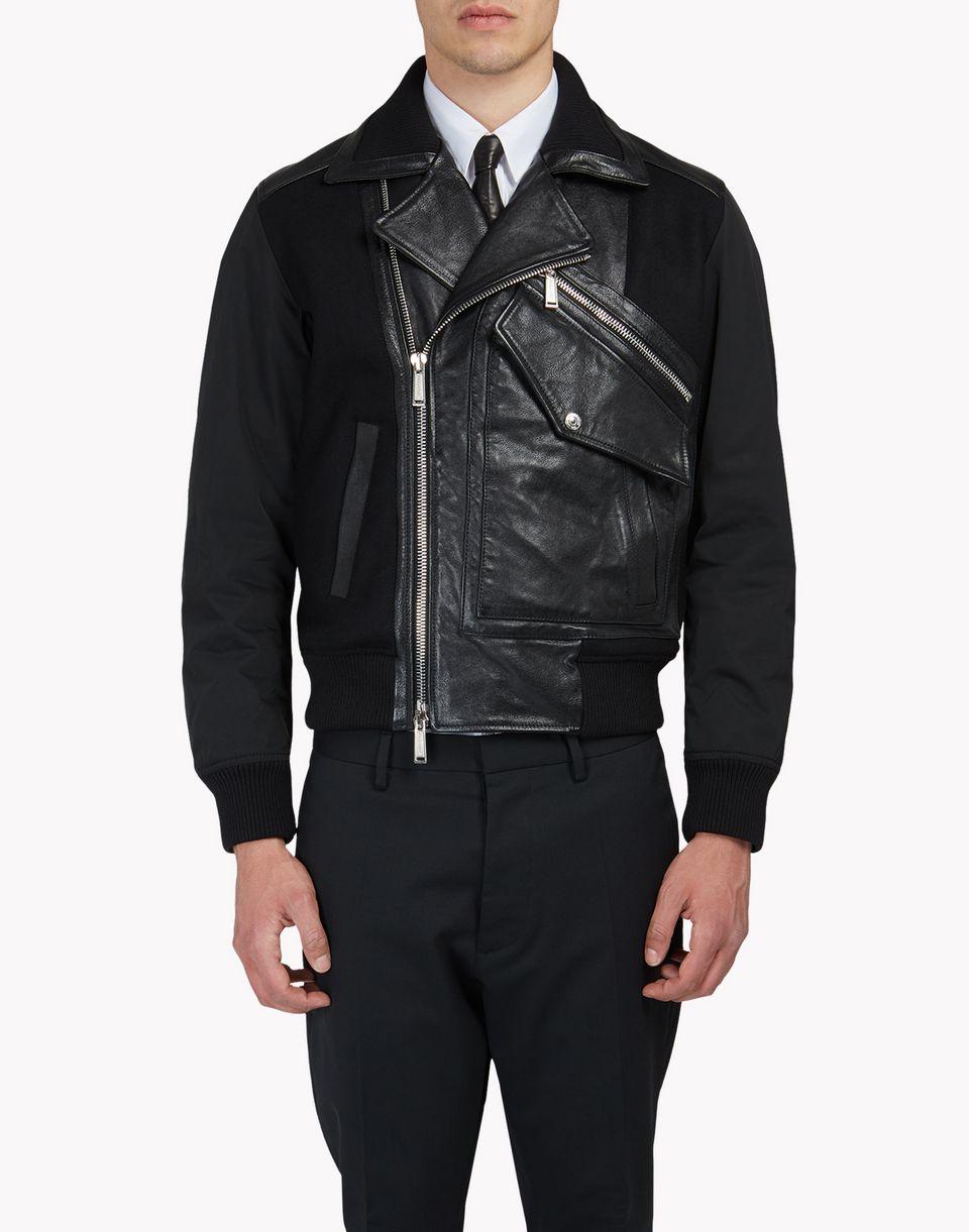 pocket biker leather jacket coats & jackets Man Dsquared2