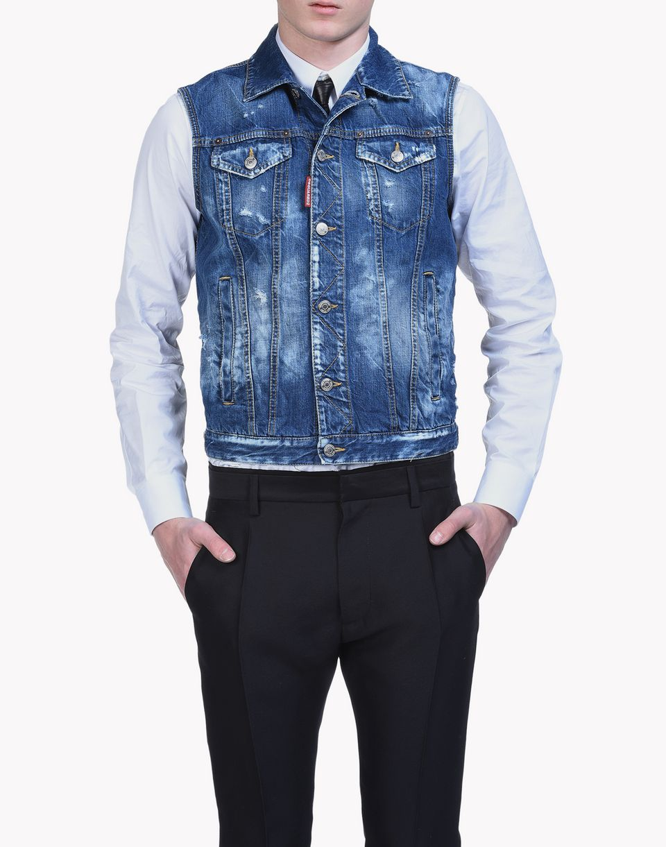butch denim vest mäntel & jacken Herren Dsquared2