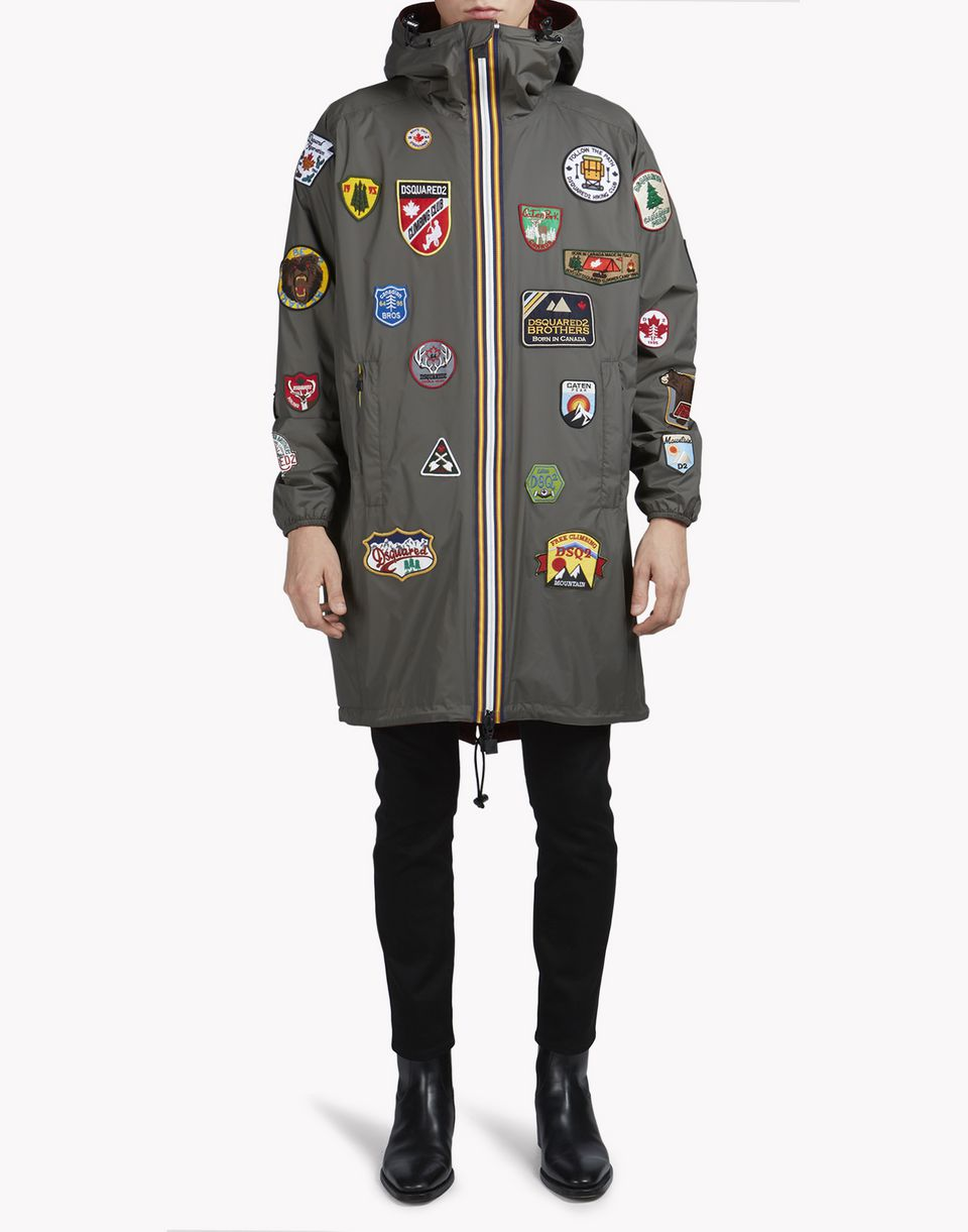 k-way patch reversible windbreaker parka mäntel & jacken Herren Dsquared2