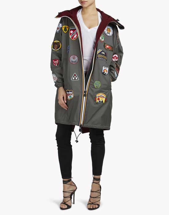 k-way patch reversible windbreaker parka mäntel & jacken Damen Dsquared2