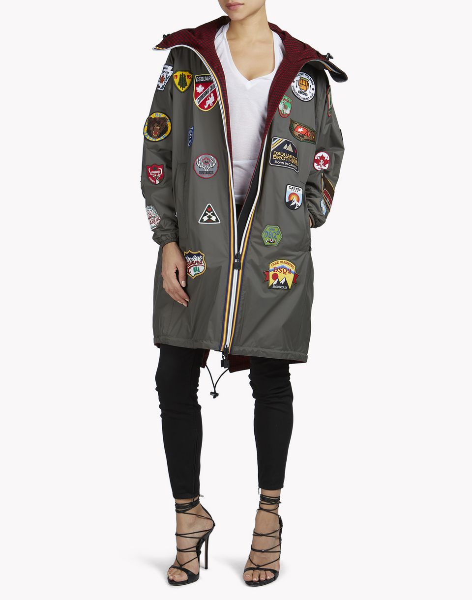 k-way patch reversible windbreaker parka coats & jackets Woman Dsquared2