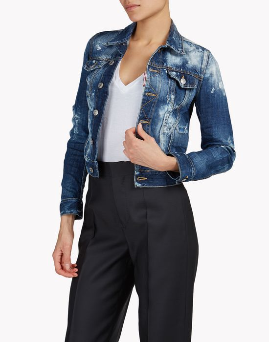 jean jacket coats & jackets Woman Dsquared2