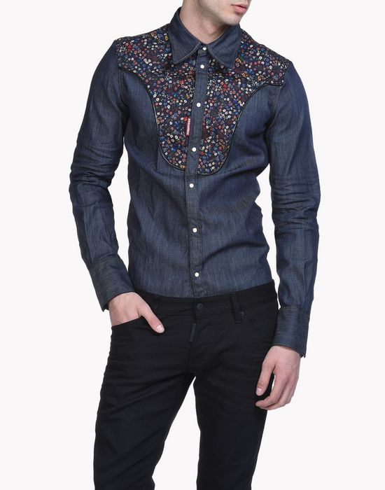 floral bib denim shirt shirts Man Dsquared2