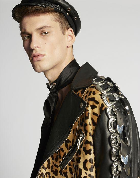 leopard leather buckle jacket coats & jackets Man Dsquared2