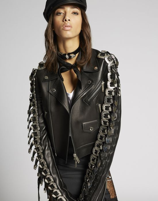 leather buckle jacket ropa de abrigo Mujer Dsquared2