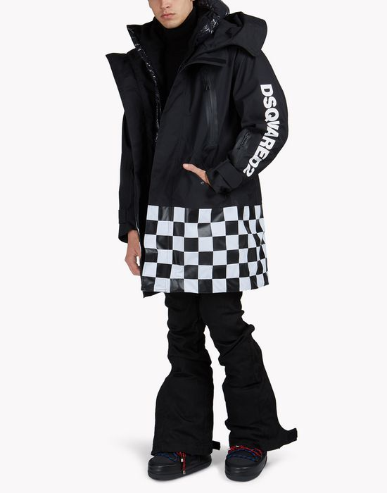 technical ski damier parka coats & jackets Man Dsquared2