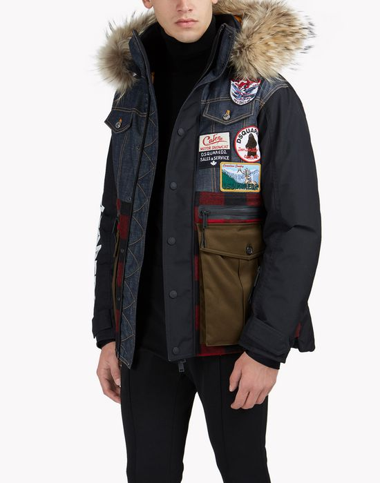 fur-trimmed check denim patch ski parka coats & jackets Man Dsquared2