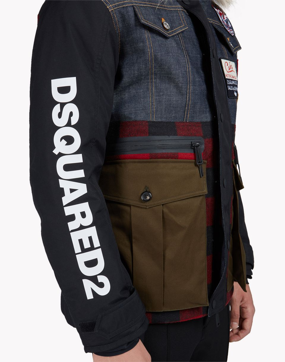 fur-trimmed hood patch ski jacket coats & jackets Man Dsquared2
