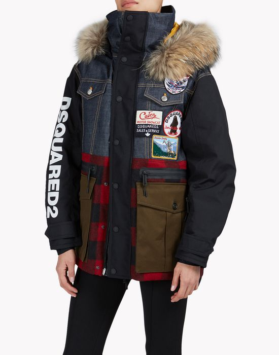 fur-trimmed check denim patch ski parka coats & jackets Woman Dsquared2