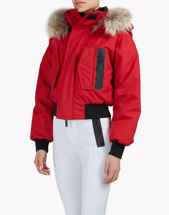 fur-trimmed hood ski bomber jacket coats & jackets Woman Dsquared2