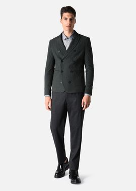 Armani Formal Jackets Men double-breasted jacket in stretch jacquard fabric