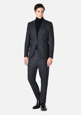Armani Formal Jackets Men single-breasted jacket in cashmere blend basket weave