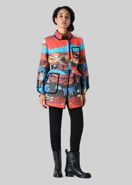 Armani Peacoats Women cotton jacquard coat