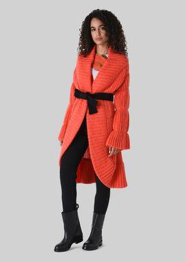Armani Coats Women long cardigan in wool and mohair