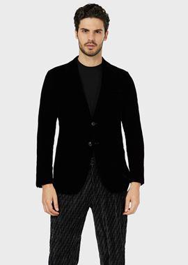 Armani Formal Jackets Men single-breasted velvet jacket