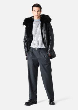 Armani Peacoats Men pea coat in semi-matt leather