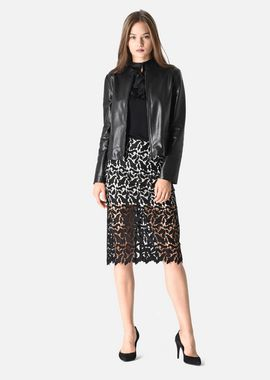 Armani Cocktail Jackets Women leather jacket with biker collar