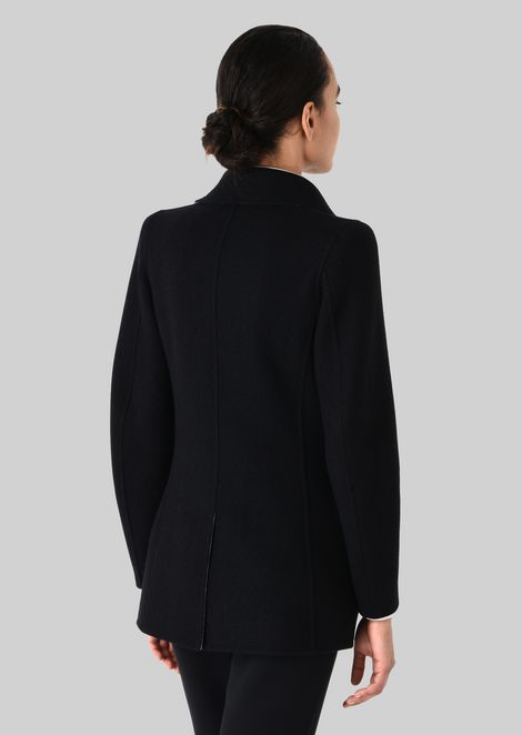 SINGLE-BREASTED PEA COAT IN CASHMERE: Casual Jackets Women by Armani - 3