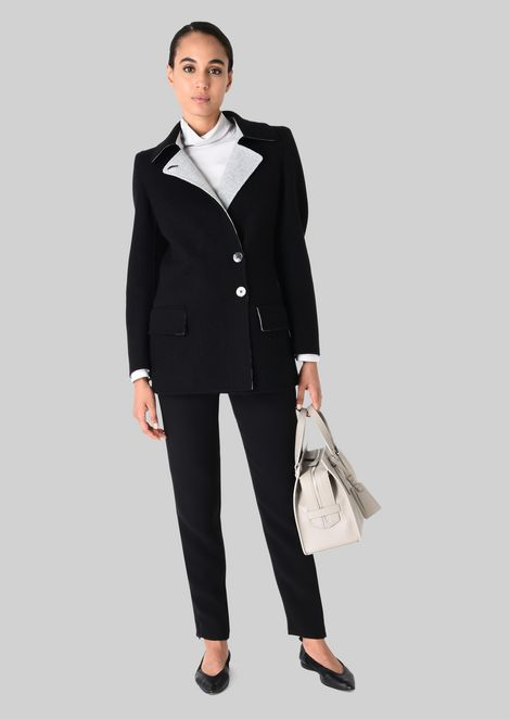SINGLE-BREASTED PEA COAT IN CASHMERE: Casual Jackets Women by Armani - 1