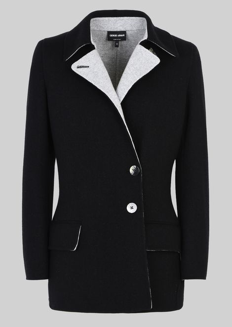 SINGLE-BREASTED PEA COAT IN CASHMERE: Casual Jackets Women by Armani - 2