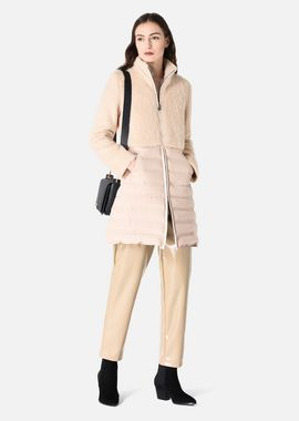 Armani Down Jackets Women mohair-effect knit and padded nylon coat